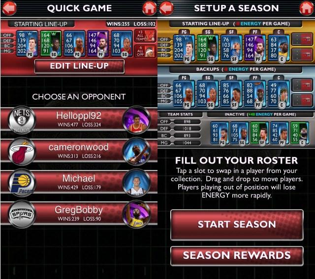 Quick game and season mode setup.